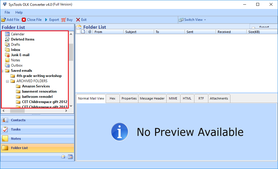 select option to export OLK File to PST